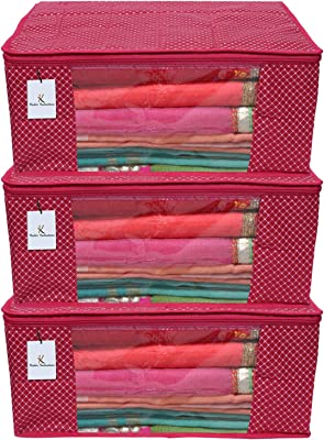 Kuber Industries Polka Dots 3 Piece Cotton 3 Layered Quilted Saree Cover, Rani Color-CTKTC021343