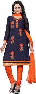 Ethnicset Black Cotton Silk Handwork and Embroidered Unstitched Churidar Dress material for women