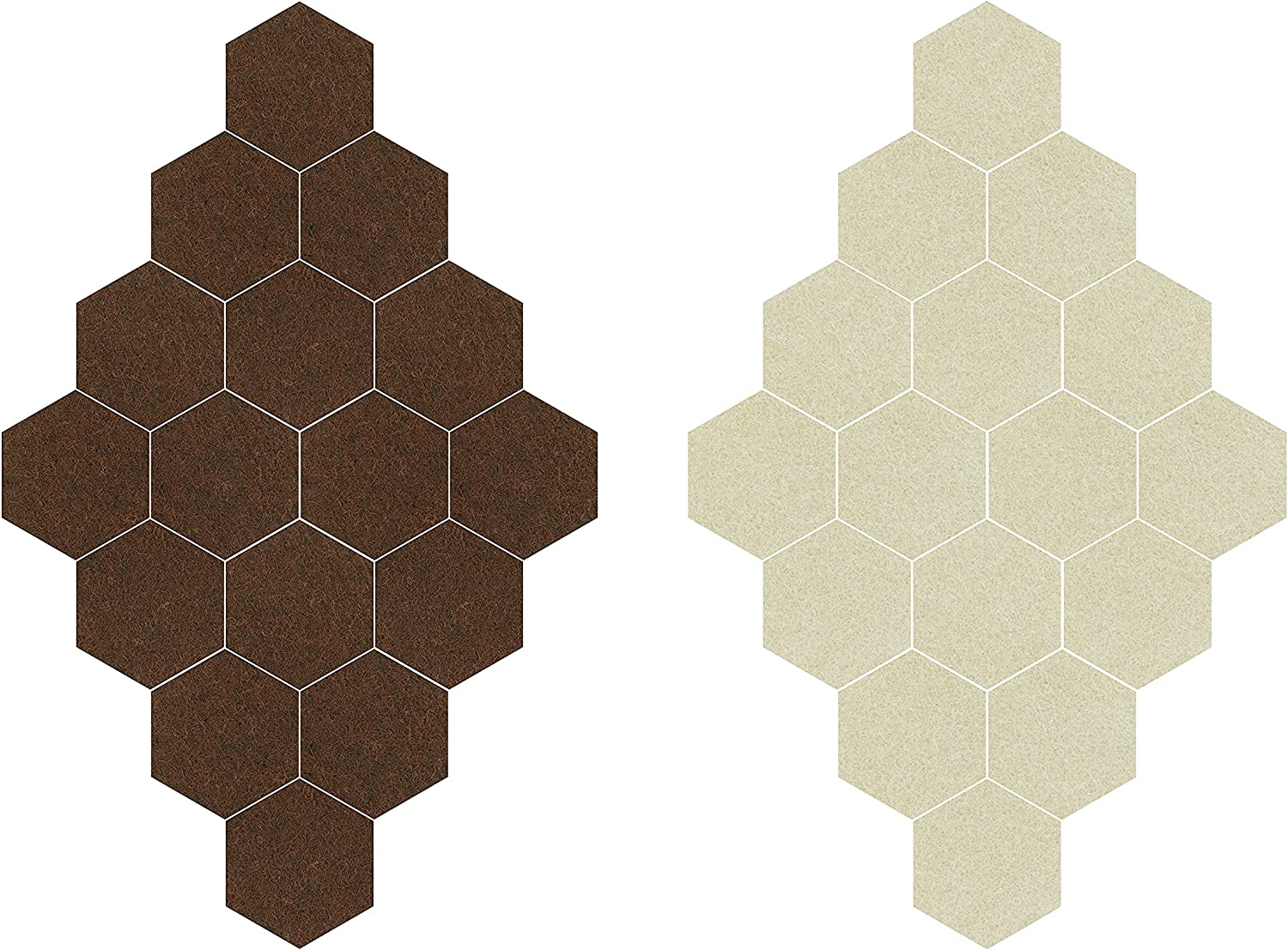 SERIC Felt Furniture Pads,96pcs Hexagon Floor Protectors,Help You Reduce Noise and Keep Floors Beautiful with Self Adhesive Pads,Anti Scratch Furniture Pads for Hardwood Floors.(Brown+Beige)(¾ inches)