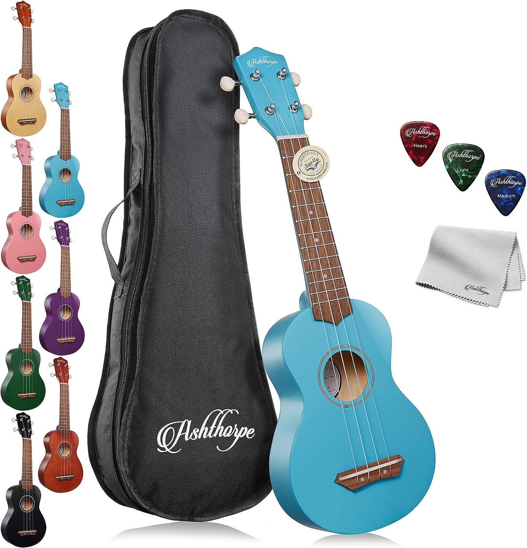 Ashthorpe All items in the store Cheap bargain Soprano Ukulele Bundle Light Uke Begi Blue 21-Inch -