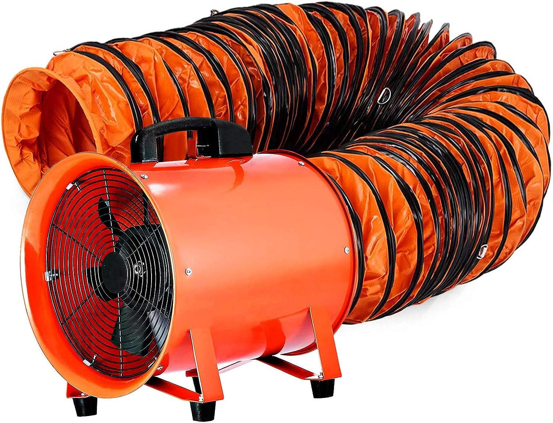 MOH Extractor Industrial Portátil 300 mm, Ventilador Profesional para Construcción 520 W, Eléctrico Ventilador y Extractor de Aire con5 m de Tubería