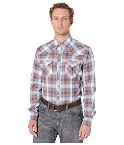 Wrangler Retro Premium Long Sleeve Plaid Snap (Blue/Burgundy) Men