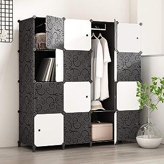 PREMAG Armoire Portable DIY, Penderie Portes, Tige Suspendue, Construction Solide Vêtements, Chaussures, Accessoires, Conc...