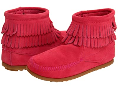 Minnetonka Kids Side Zip Double Fringe (Toddler/Little Kid/Big Kid) (Hot Pink Suede) Girls Shoes