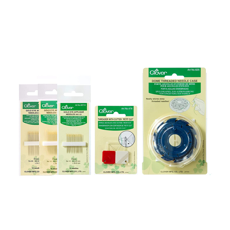 Clover E020 Gold Eye Bundle Applique Needles, Multiple 5 rqlztle470468