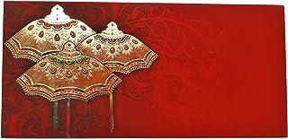 Desi Favors Set of 10 Shagun Embozed Money/Cash Envelopes (Red Umbrella) for Special Occassions
