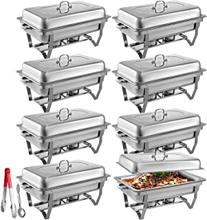 Mophorn Chafing Dish 8 Packs 8 Quart Stainless Steel Full Size Rectangular Chafers for Catering Buffet Warmer Set with Folding Frame