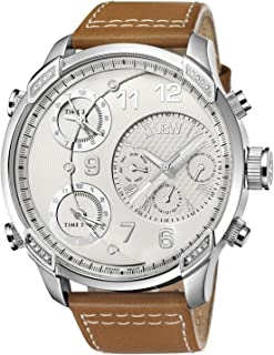 JBW Luxury Men's G4 16 Diamonds Multi-Time Zone Leather Watch - J6248LM