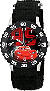 Disney Kids' W001586, Cars Lightning McQueen Stainless Steel Watch, Black Nylon Band