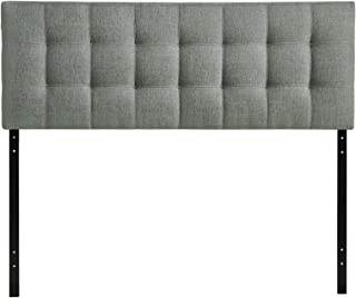 Modway Lily Tufted Linen Fabric Upholstered Full Headboard in Gray
