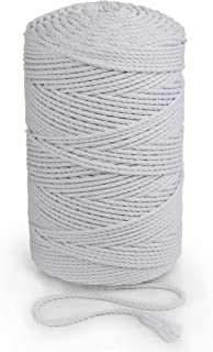 White Macrame Rope 5mm x 262 yd Cotton Cord 240m Macrame Cord Soft Cotton String 3 Strand Twisted Yarn Bleached Rope for H...