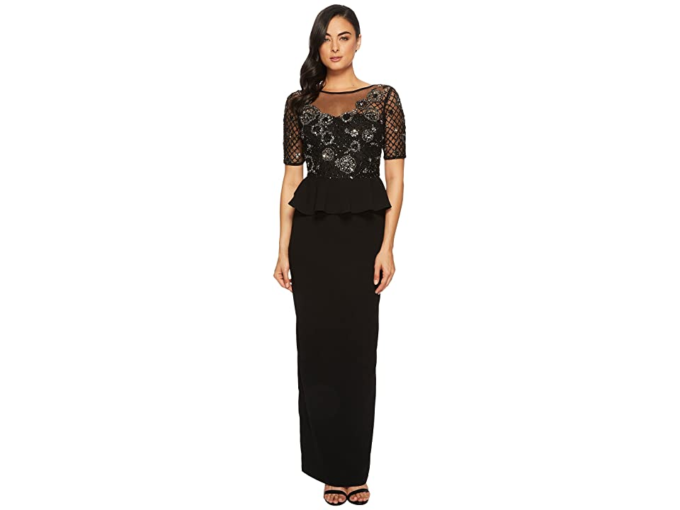 69fa11deedc Adrianna Papell 3 4 Sleeve Beaded Bodice with Stretch Crepe Peplum Skirt  (Black Mercury) Women s Dress