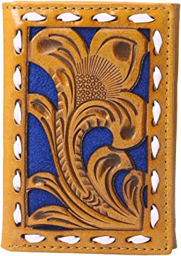 Embossed with Blue Background Trifold Wallet