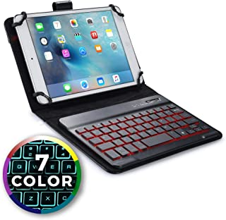 Cooper Backlight Executive Keyboard Case for 7-8 Inch Tablets | 2-in-1 Bluetooth Wireless Backlit Keyboard, Leather Folio, 7 Color Keys (Black)