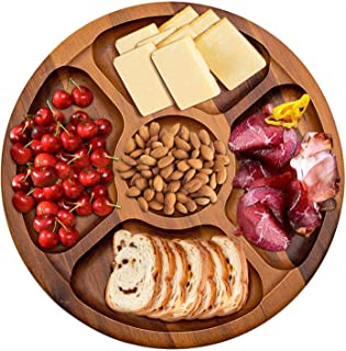 Wood Cheese Board, AIDEA [12 Inch] Wood Cheese Plate Charcuterie Board for Party, Natural Hardwood & Easy Cleaning, Round Cheese Board for Cheese, Fruits Crackers and Meat