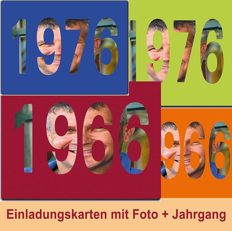 Einladungskarten Jahrgang 1966 1976 1986 zum Geburtstag Geburtstagseinladungen mit Foto - 50 Stück und Text selber gestalten B015EKJ5HO | Guter Markt