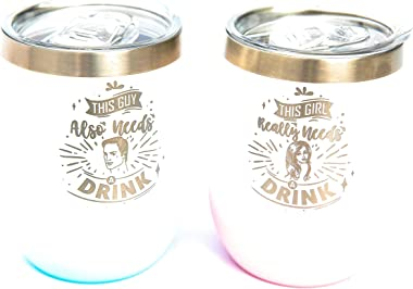 Wine Glass Tumblers [2 Pack] Gifts for Couples BPA Free & Vacuum Insulated