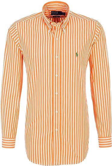 Ralph Lauren - Camisa para hombre, color naranja y blanco, verde pony, a rayas