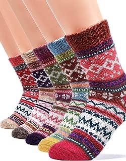 Women Winter Warm Wool Socks - Thermal Cozy Funny Cabin Crew Boot Socks for Girl as Christmas Birthday Gift