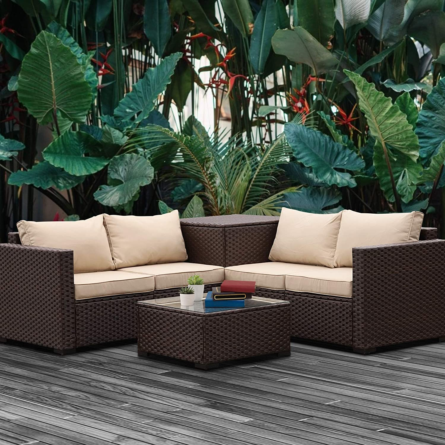 Patio PE Wicker Furniture Set 4 Pieces Outdoor Brown Rattan Sectional Conversation Sofa Chair with Storage Box Table and Khaki Cushions