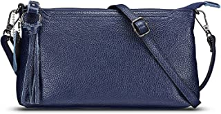 Lecxci Womens Small Leather Crossbody Bag, Zipper Clutch Phone Wallet Purse with [3 Card Slots] for Women