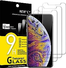 """NEW'C Lot de 3, Verre Trempé Compatible avec iPhone 11 Pro Max et iPhone XS Max (6.5""""), Film Protection écran sans Bulles d'air Ultra Résistant (0,33mm HD Ultra Transparent) Dureté 9H Glass"""