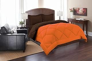 Super Soft Goose Down 3pc REVERSIBLE Alternative Comforter, QUEEN, Orange/Chocolate