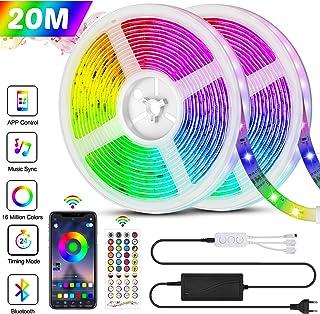 Bonve Pet 20M Tiras LED RGB 5050, Bluetooth Musical Tiras LE