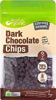 Absolute Organic Dark Vegan Chocolate Chips, 1x350g, Dark 70% cacao