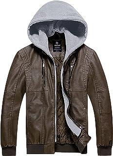 Wantdo Men's Faux Leather Jacket Motorcycle PU Warm Coat Biker Coat with Removable Hood