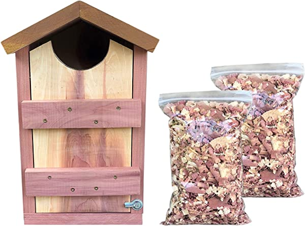 Vundahboah Amish Goods Screech Owl House Box For Nesting Handmade In USA Solid Cedar Wood Saw Whet Kestrel Screech Owl Flicker Cedar Shavings Included