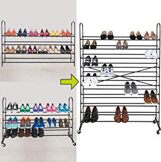 Smart Design 10-Tier Steel Metal Shoe Rack Tower w/Rolling Wheels - Holds 60 Pairs of Shoes - Easy Assembly & Adjustable - Entryway, Closet, Garage - Home Organization (44 x 60 Inch) [Bronze]