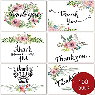 100 Bulk Thank You Cards, Blank Thank You Notes for Wedding, Baby Shower, Bridal Shower, Anniversary, 6 Floral Flower Design, Blank On the Inside, 4 x 6 inch Thank You Cards with Adhesive Envelopes