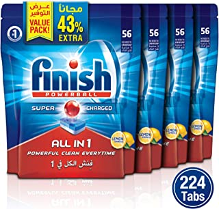 Finish Dishwasher Detergent Tablets All in One-Lemon, 224 Tablets/Pack of 4