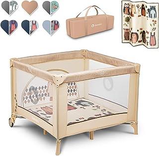 Lionelo Sofie Laufstall Laufstall Baby Baby Bett Reisebett Baby ab Geburt bis 15 kg Seiteneingang Lockguard System und Blockade der Räder Tragetasche zusammenklappbar Beige