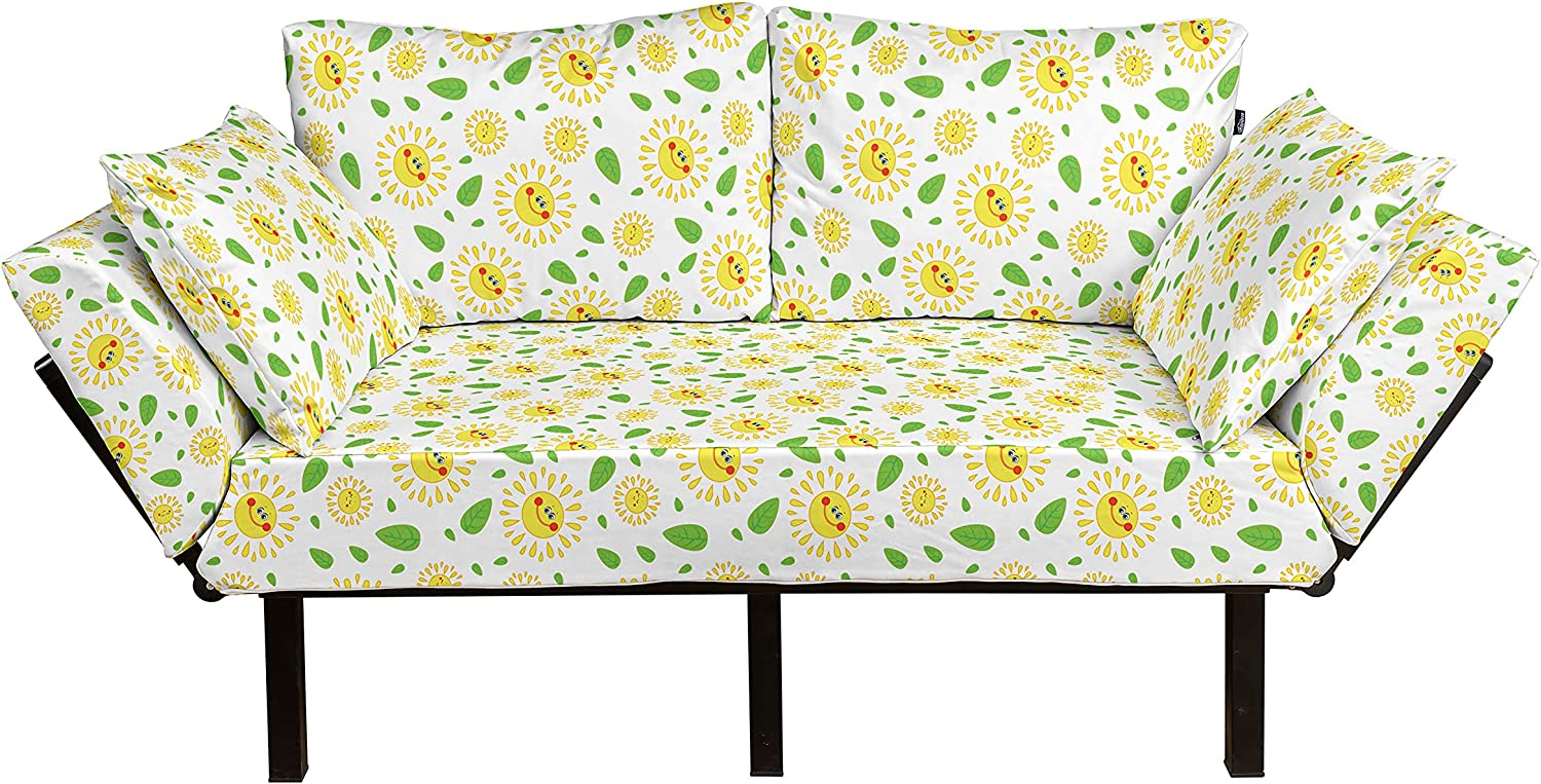 Lunarable Ranking TOP5 Sun Futon Couch Rare Cheerful Spring Illustration Fre with