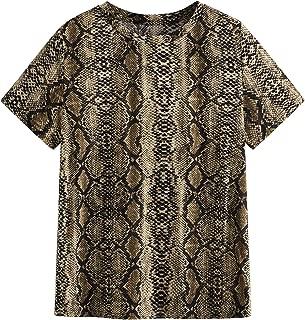 Milumia Women's Casual Leopard Print Round Neck Short Sleeve T Shirt Tee Tops