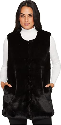 Vince Camuto - Collarless Faux Fur Vest with Pockets