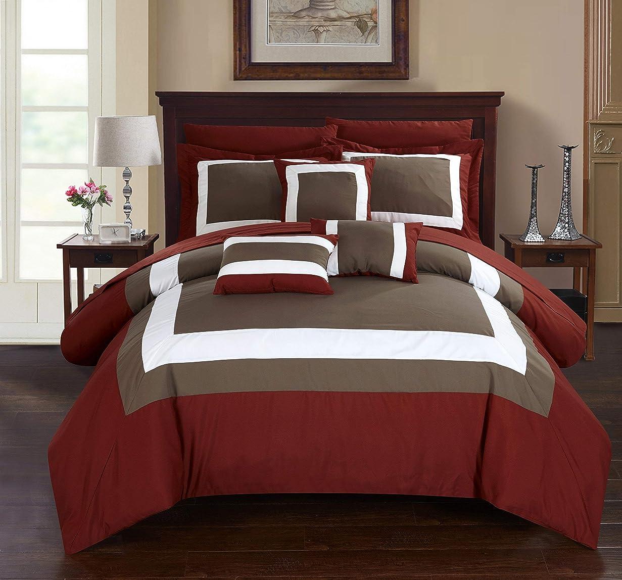 ワイプ無知モーター(King, Brick) - Chic Home Duke 10 Piece Comforter Set Complete Bed in a Bag Pieced Colour Block Patterned Bedding with Sheet Set And Decorative Pillows Shams Included, King Brick Red