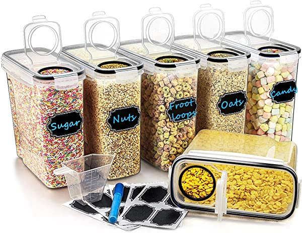 Large Cereal Dry Food Storage Containers Wildone Airtight Cereal Storage Containers For Sugar Flour Snack Baking Supplies Leak Proof With Black Locking Lids Set Of 6 4L 135 3oz