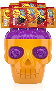 Chupa Chups Skull Lollipops, 100 Strawberry Flavoured Skull Face Lollipops with a Fizzy Lime Brain with Limited Edition Sk...