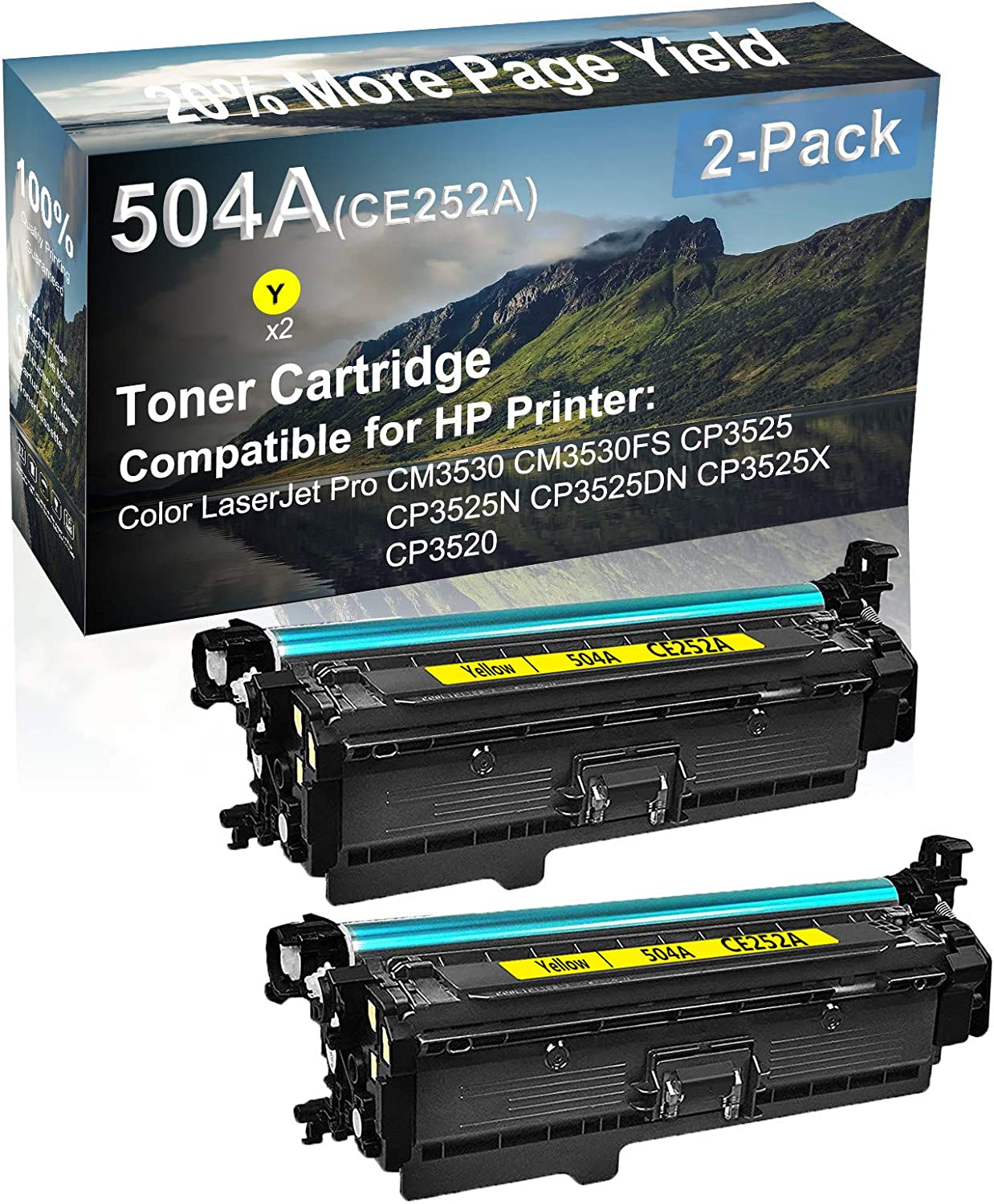 2-Pack (Yellow) Compatible CP3525N CP3525DN Printer Toner Cartridge High Capacity Replacement for HP (CE252A) 504A Toner Cartridge