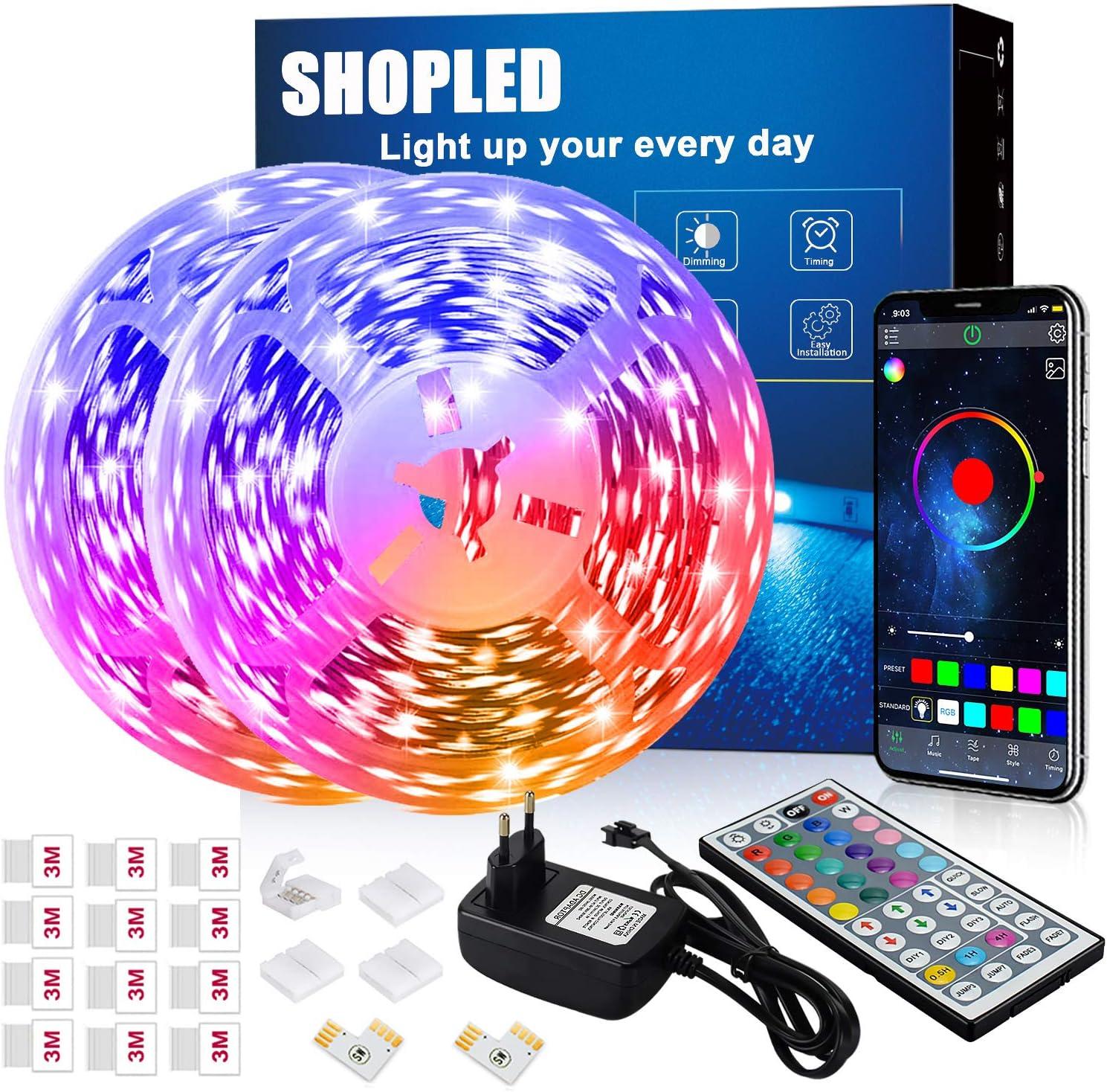 Tira LED 12M, SHOPLED Bluetooth Music Sync SMD 5050 RGB Tiras LED con Control de Aplicación, 44 Teclas de Control Remoto para Dormitorio, Cocina, TV, Fiesta, Decorativas Habitación