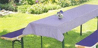 Brandsseller Juego de fundas para bancos y mesas de jardín (2 cojines acolchados para bancos de 220 x 25 x 2 cm, manta de 240 x 70 cm), color azul