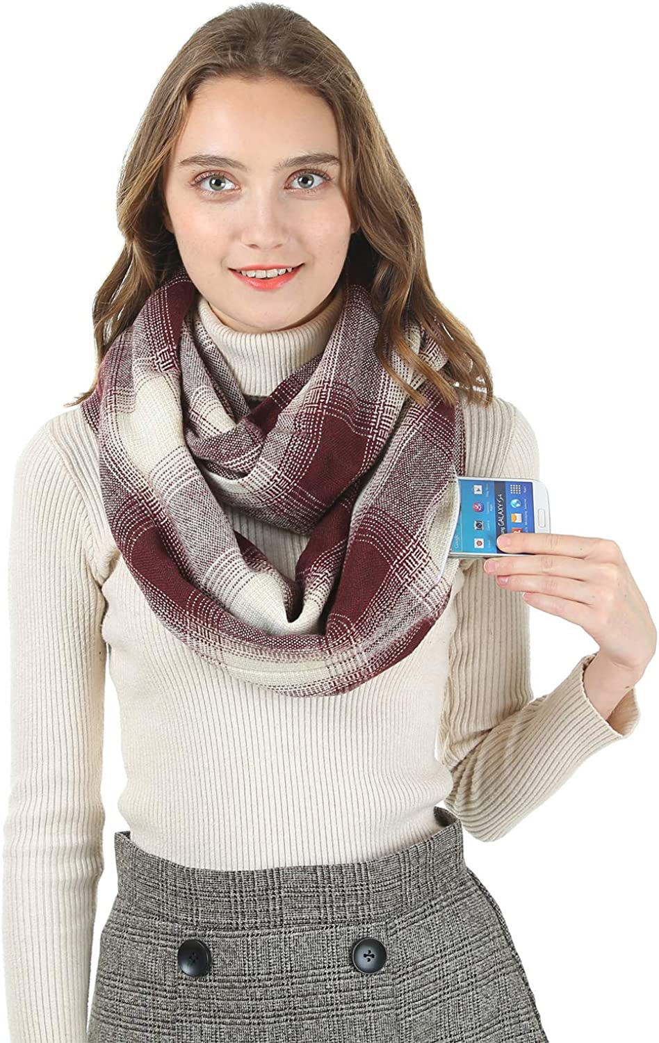 Fashion Infinity Scarves With Zipper Pocket For Women Men - Novelty Wrap Travel Scarf with Hidden Pocket