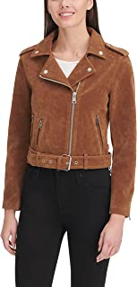 Women's Faux Leather Asymmetrical Belted Motorcycle Jacket