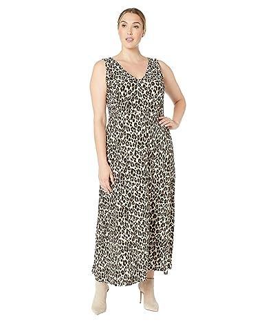 Vince Camuto Specialty Size Plus Size Sleeveless Maxi Elegant Leopard Knit Dress (Rich Black) Women