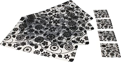 Generic Black Flower Printed Rectangular Waterproof Plastic Placemat and Cup Coaster for Table,Dining,Kitchen(Pack of 8)
