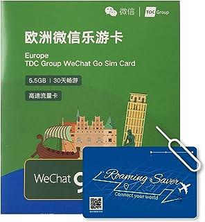 周遊ヨーロッパ SIMカード インターネット 30日間 4G高速データ通信容量 5.5GB + 国内通話30分 – Europe シム Wechat Go 5.5ギガ スイス トルコ スペイン