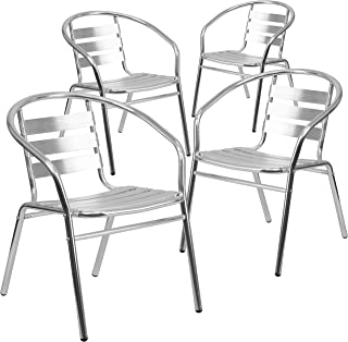 Flash Furniture 4 Pk. Commercial Aluminum Indoor-Outdoor Restaurant Stack Chair with Triple Slat Back and Arms